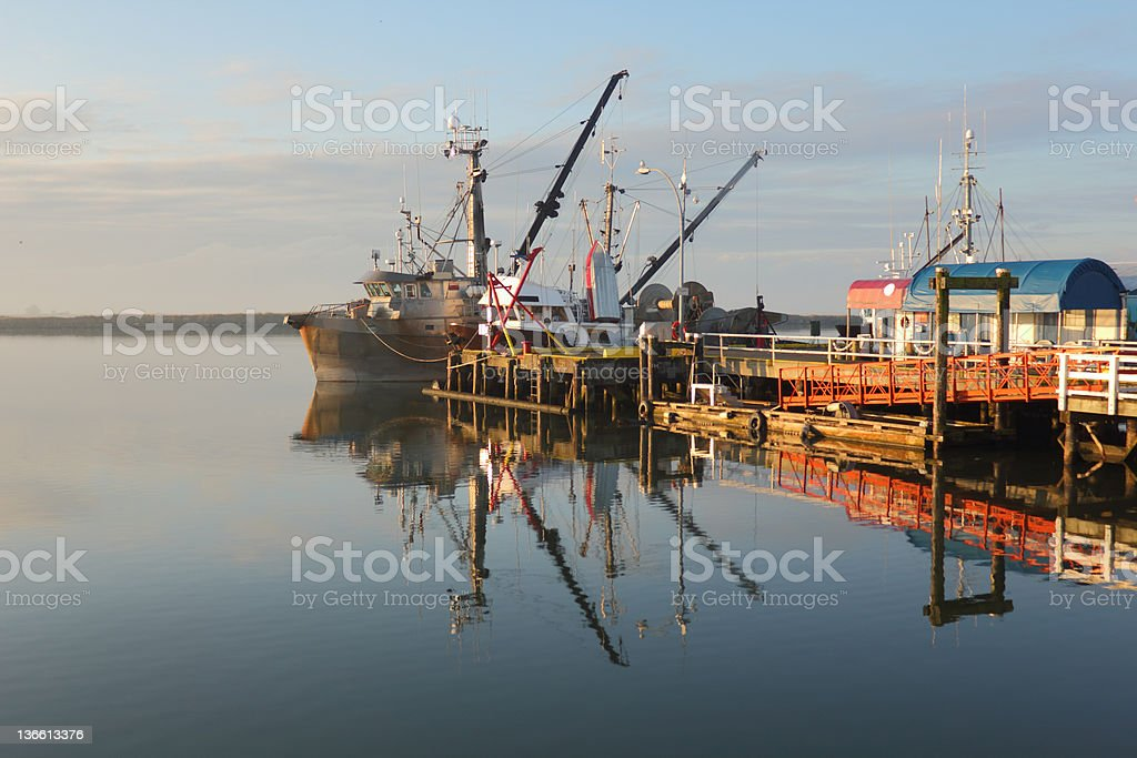 Steveston Harbor, Morning Reflection royalty-free stock photo