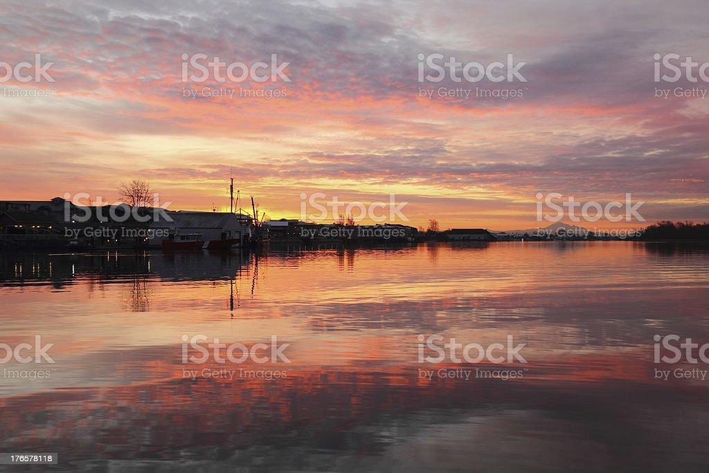 Steveston Harbor Reflected Morning Cloudscape stock photo