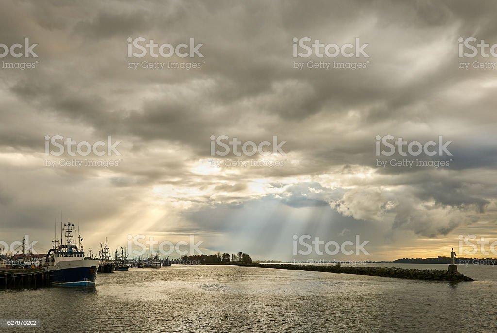 Steveston Storm Clouds and Sun Beams stock photo