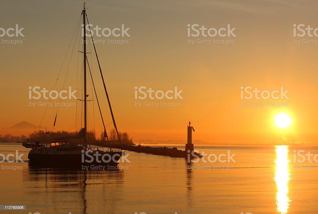 Steveston Sunrise Sailboat Departure stock photo