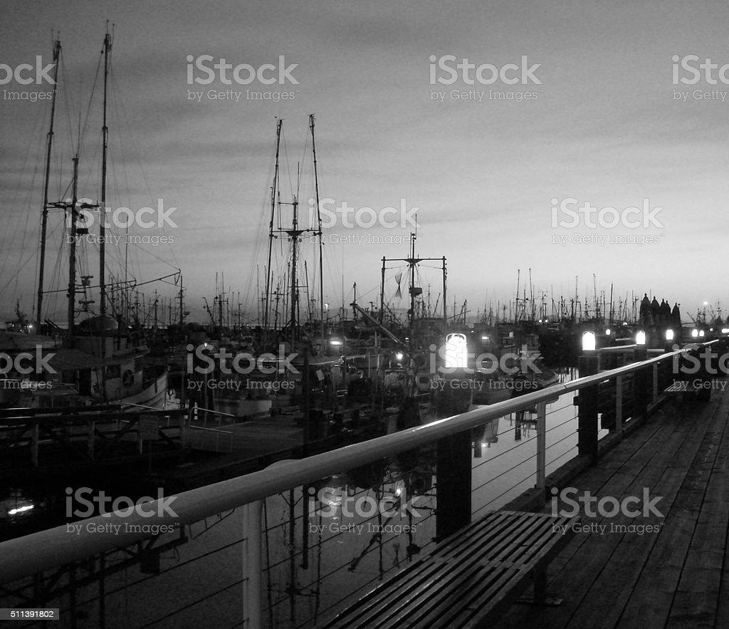 Steveston Waterfront at Sunset stock photo