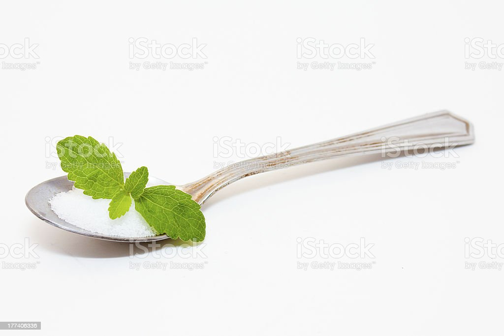 Stevia and Leaf in Spoon stock photo
