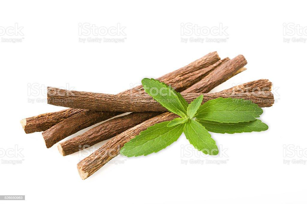 stevia and licorice stock photo