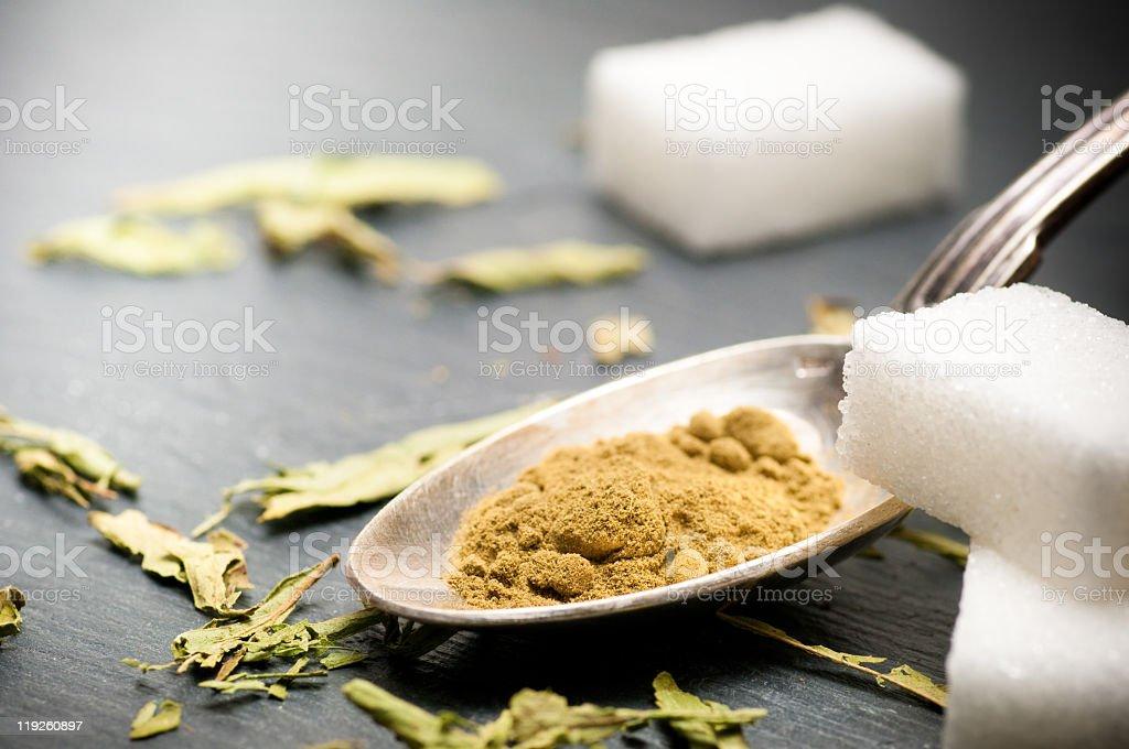Stevia rebaudiana bertoni powder, natural sweetener royalty-free stock photo