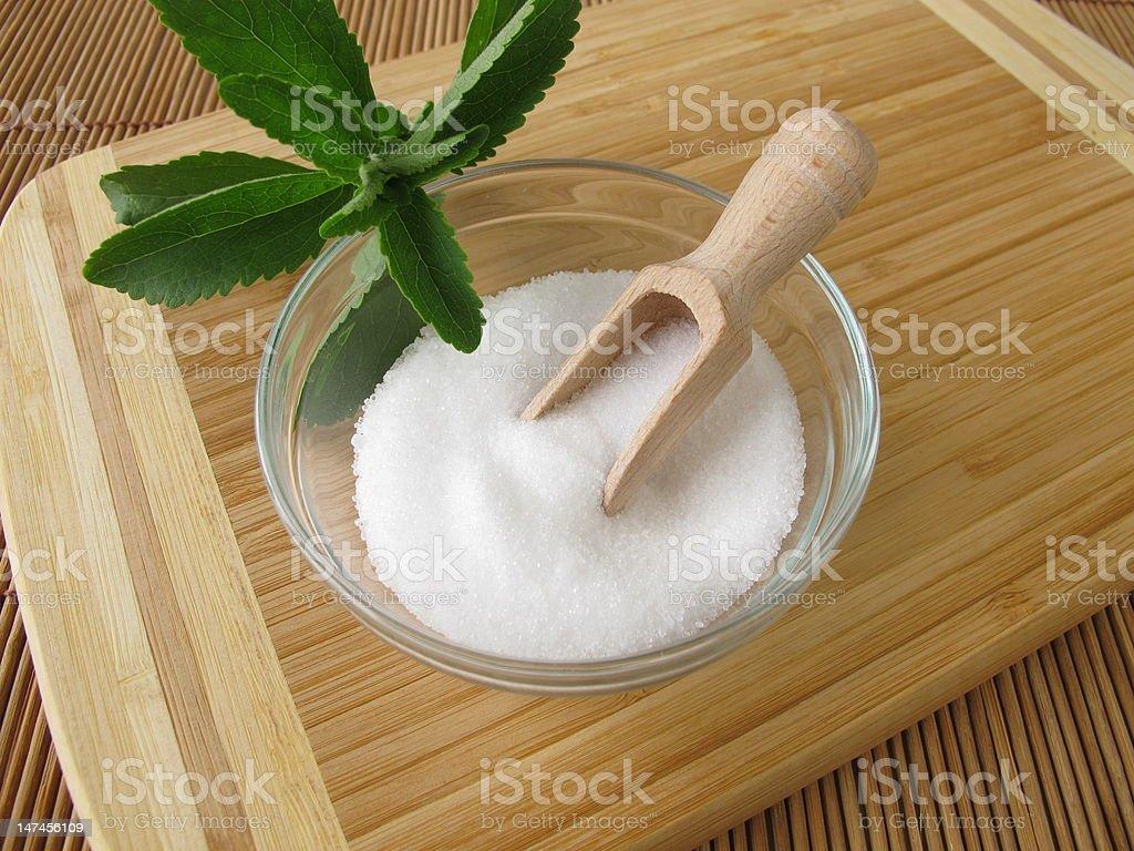 Stevia sugar free crystals stock photo