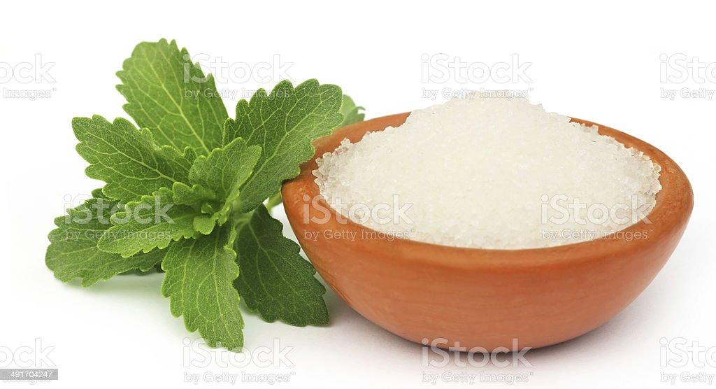 Stevia with sugar stock photo