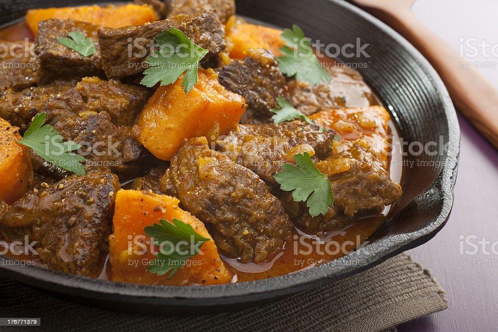 Stew Beef Tagine with Sweet Potato stock photo