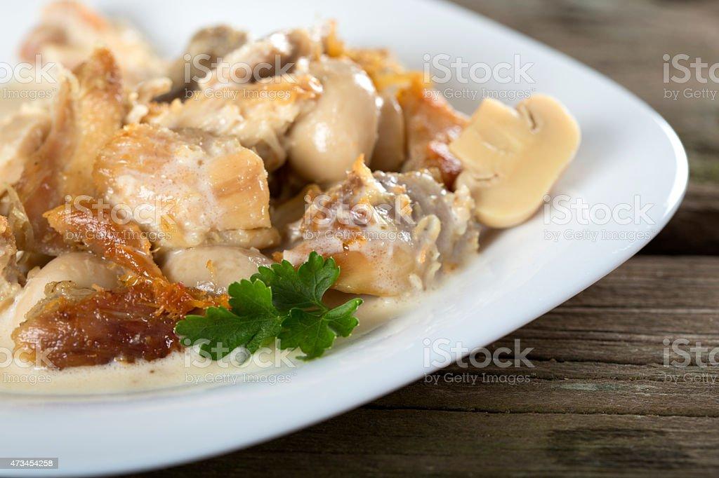 Stew chicken in a creamy sauce stock photo