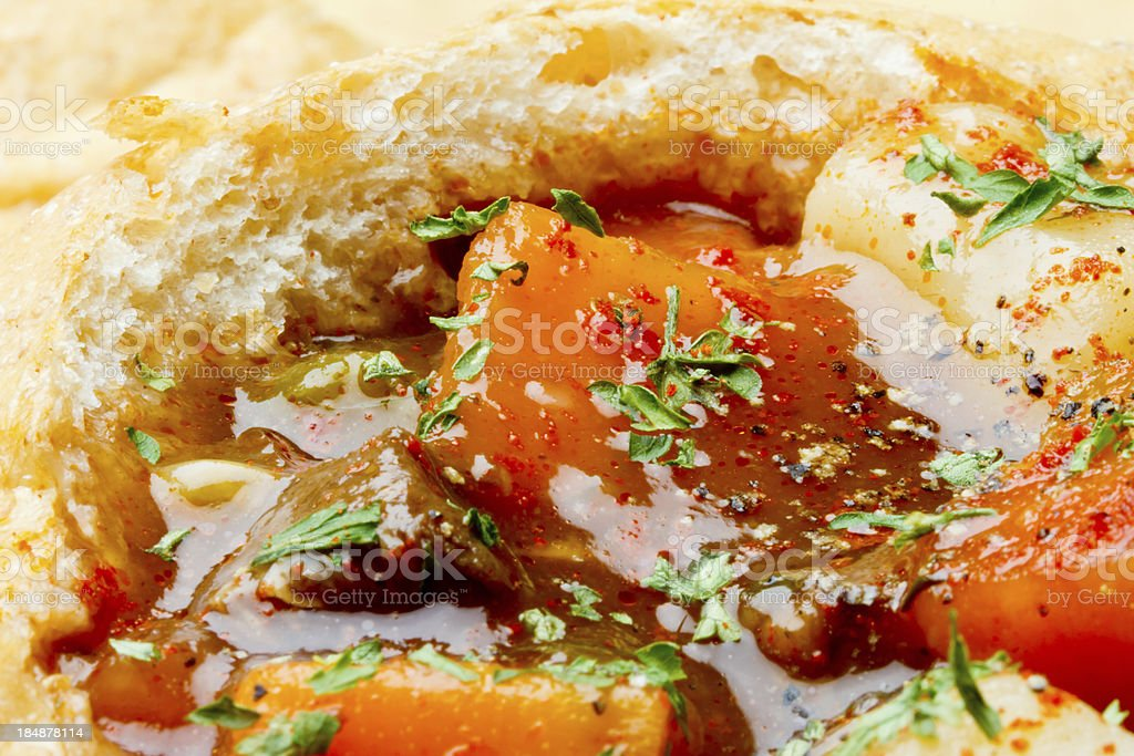 Stew in Bread Bowl royalty-free stock photo
