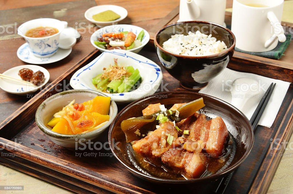 Stew pork set menu stock photo