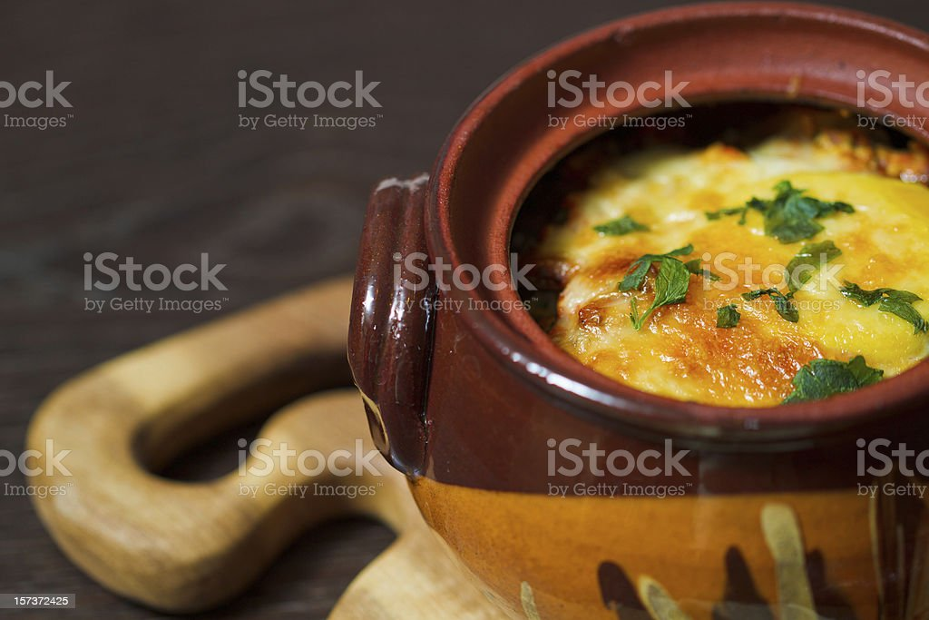 Stew pot with sausage and cheese royalty-free stock photo