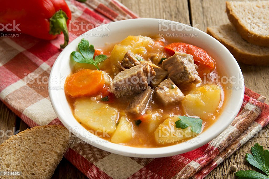 stew with meat and vegetables stock photo