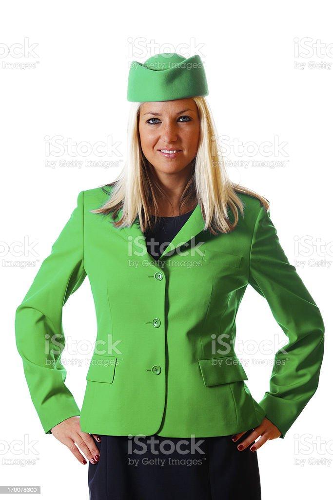 Stewardess smiling royalty-free stock photo