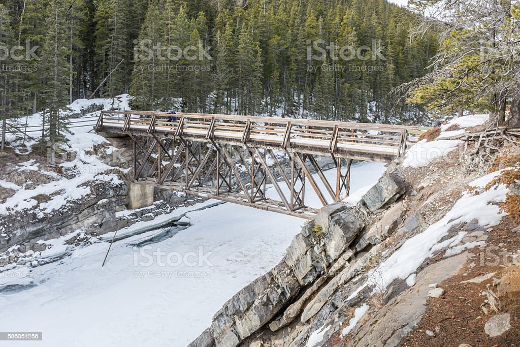 Stewart Creek Footbridge over Cascade Canyon stock photo