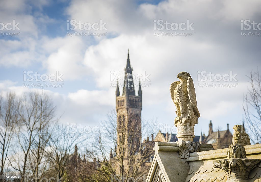 Stewart Memorial Fountain and Glasgow University Bell Tower stock photo
