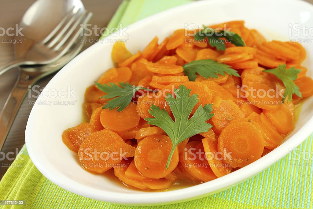 Stewed carrots stock photo