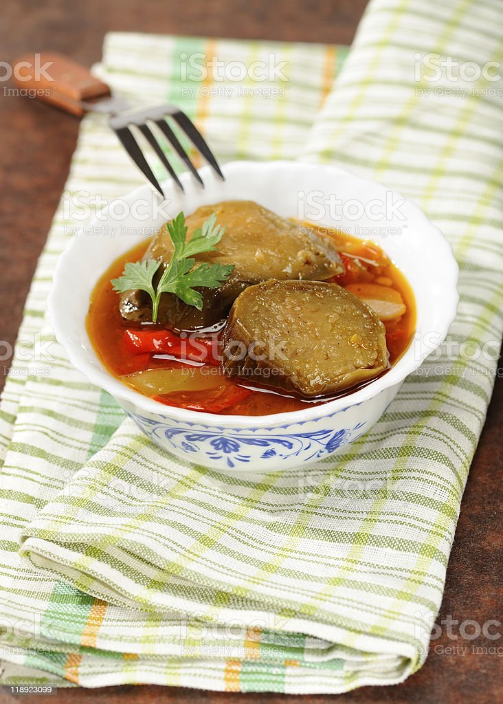 Stewed eggplants with vegetables royalty-free stock photo