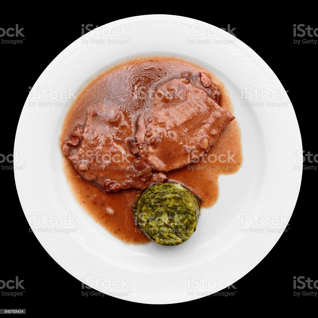 Stewed meat in plate stock photo