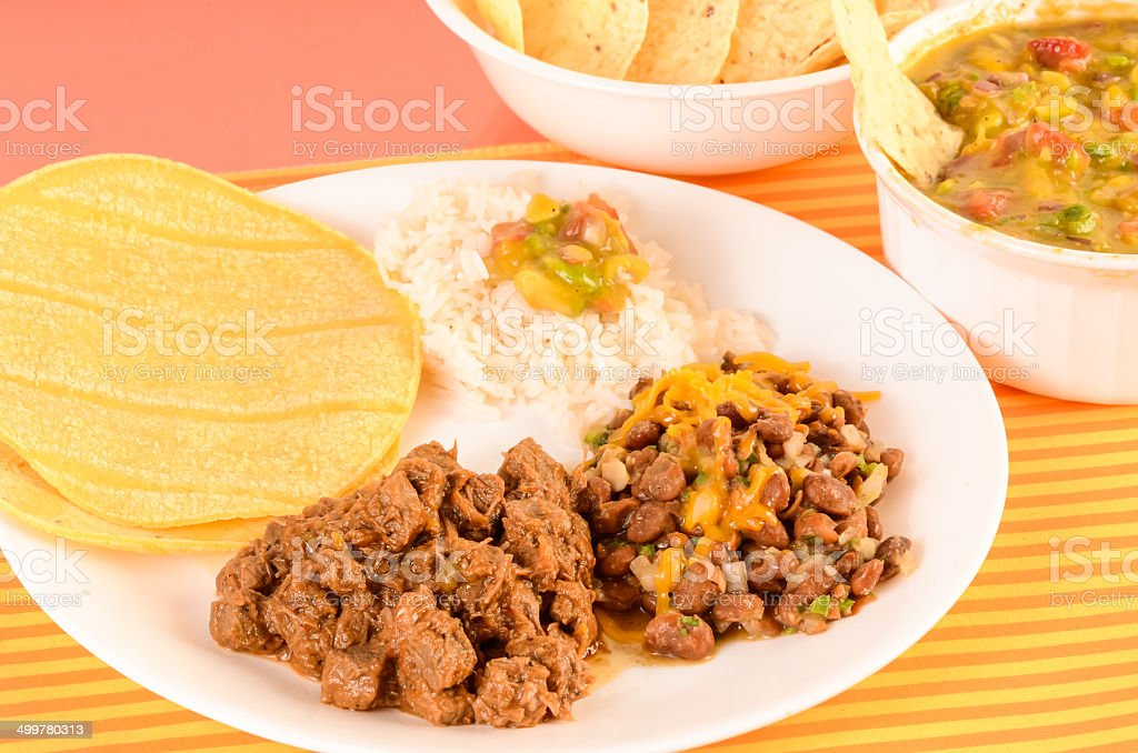 Carne Guisada Mexican Dinner stock photo
