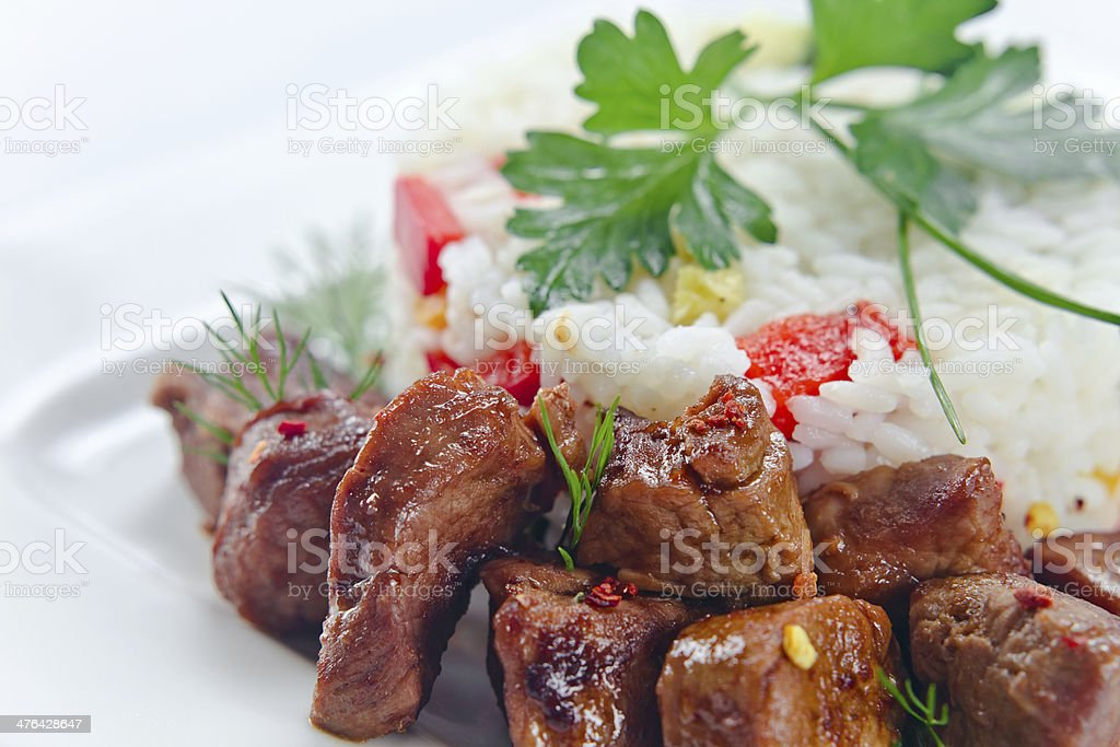 Stewed mutton with rice royalty-free stock photo