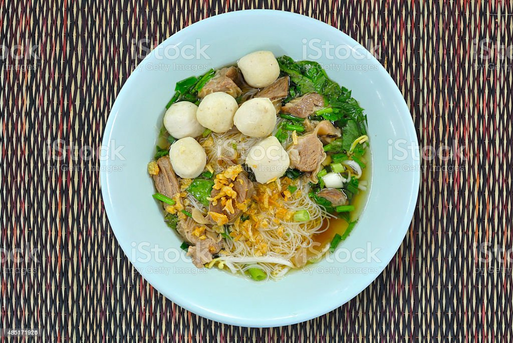 Stewed Pork Noodle Soup.  Top or OverHead View stock photo