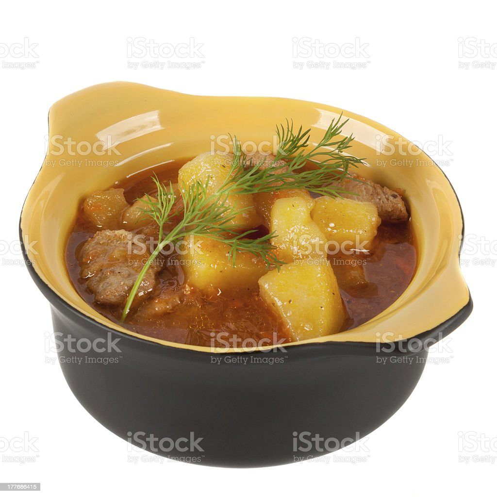 Stewed potatoes in a pot royalty-free stock photo