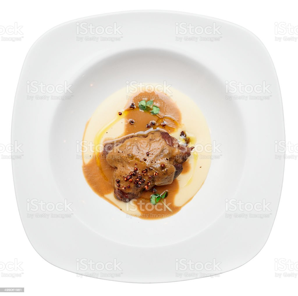 Stewed veal with potato mash, isolated stock photo