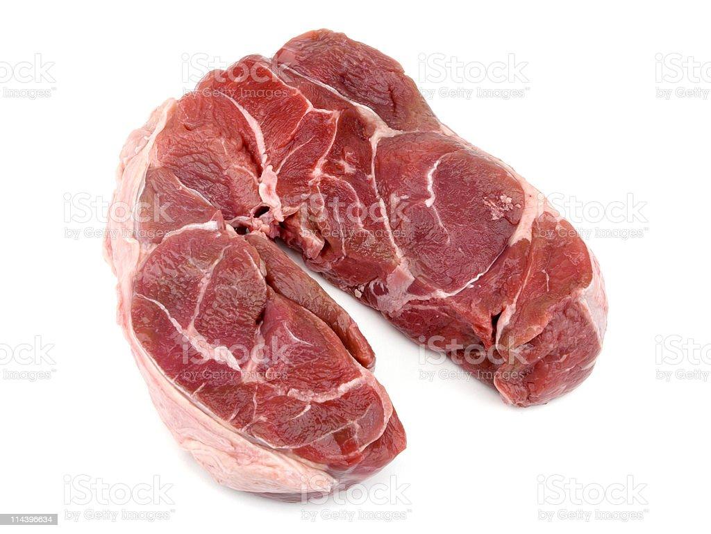 Stewing Steak On White Background stock photo