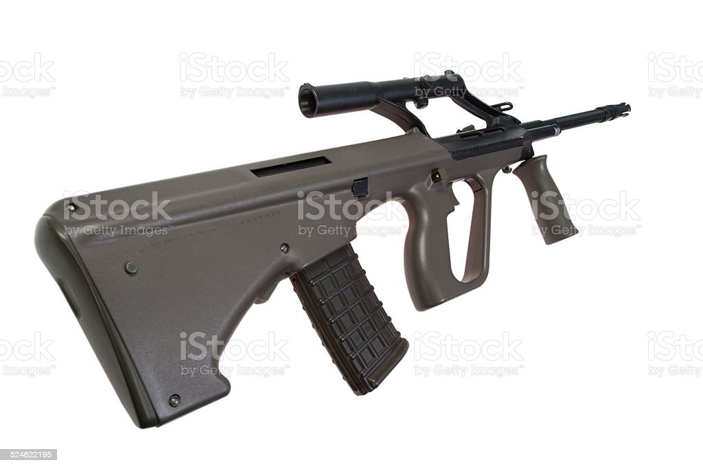 Steyer Aug assault rifle isolated stock photo