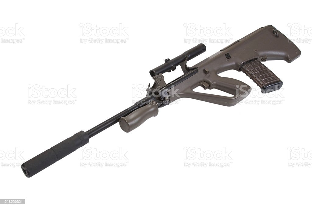 Steyer Aug assault rifle with silencer stock photo