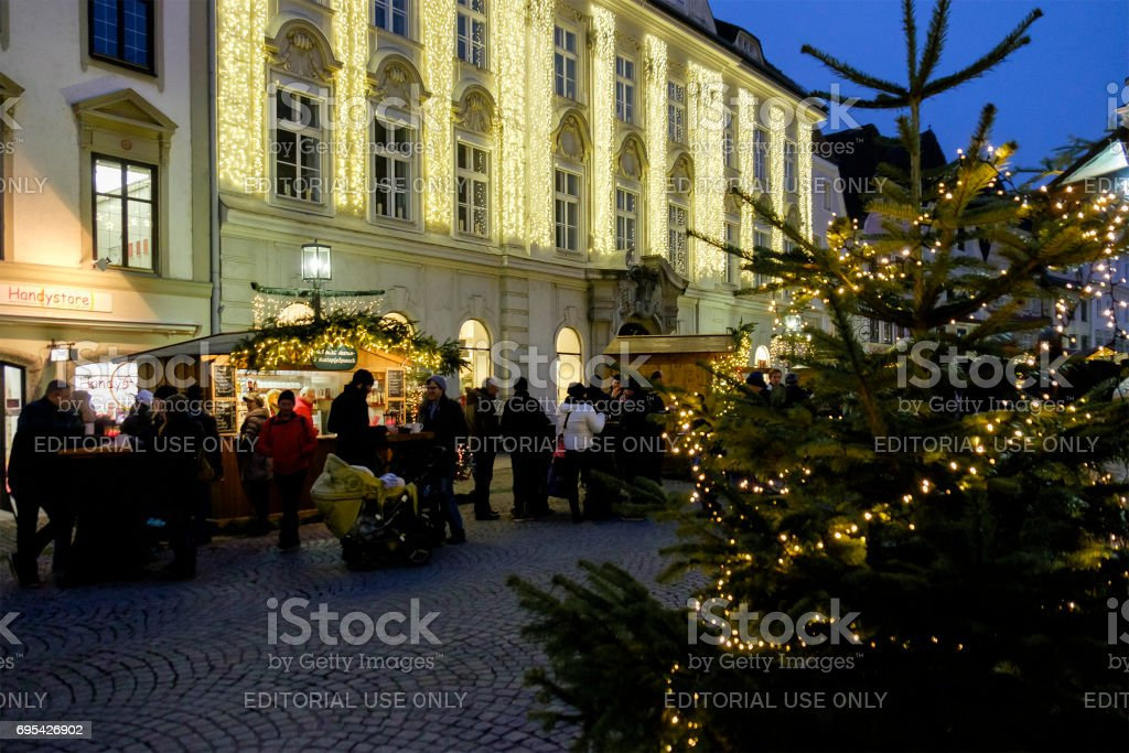 Steyr at Christmas, the Stadtplatz - Austria stock photo
