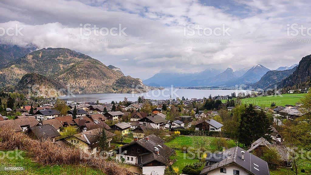 St.Gilgen Village near wolfgangsee stock photo