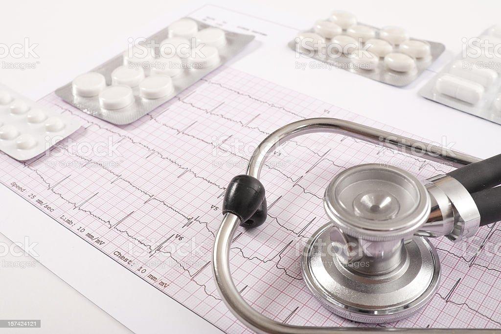 Sthetoscope, EKG and pills royalty-free stock photo