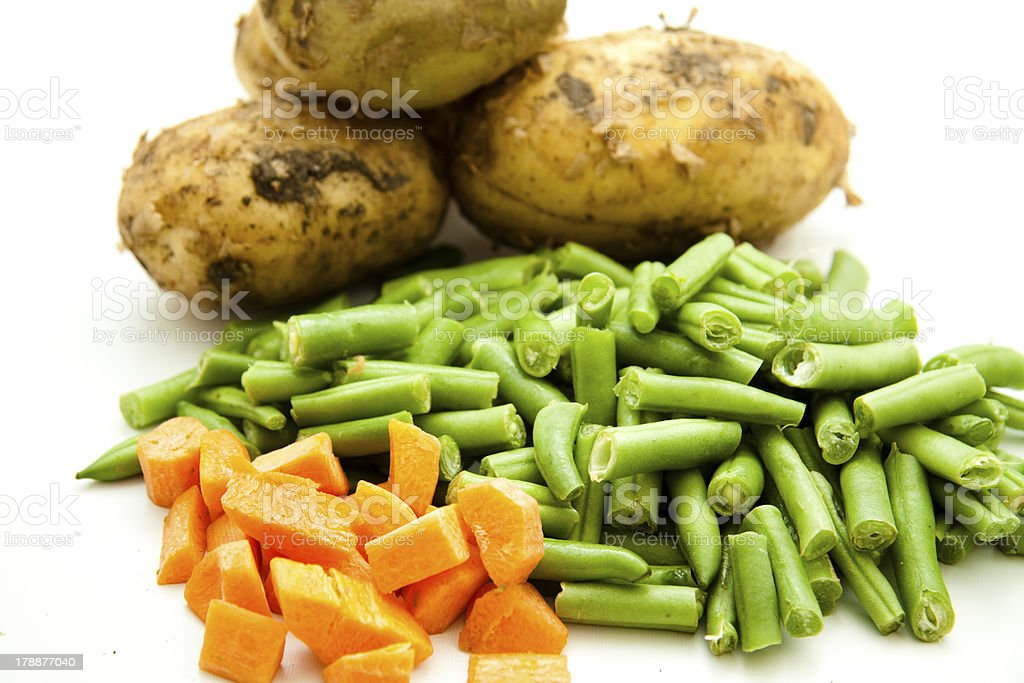 Stick beans with carrot and potatoes stock photo