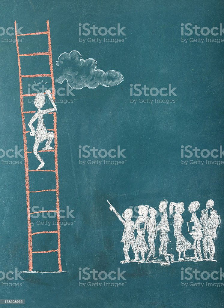Stick Figure Climbing Ladder To Success royalty-free stock photo