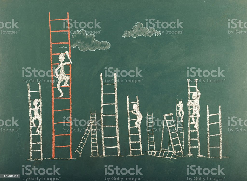 Stick Figure Climbing Ladder To Success vector art illustration