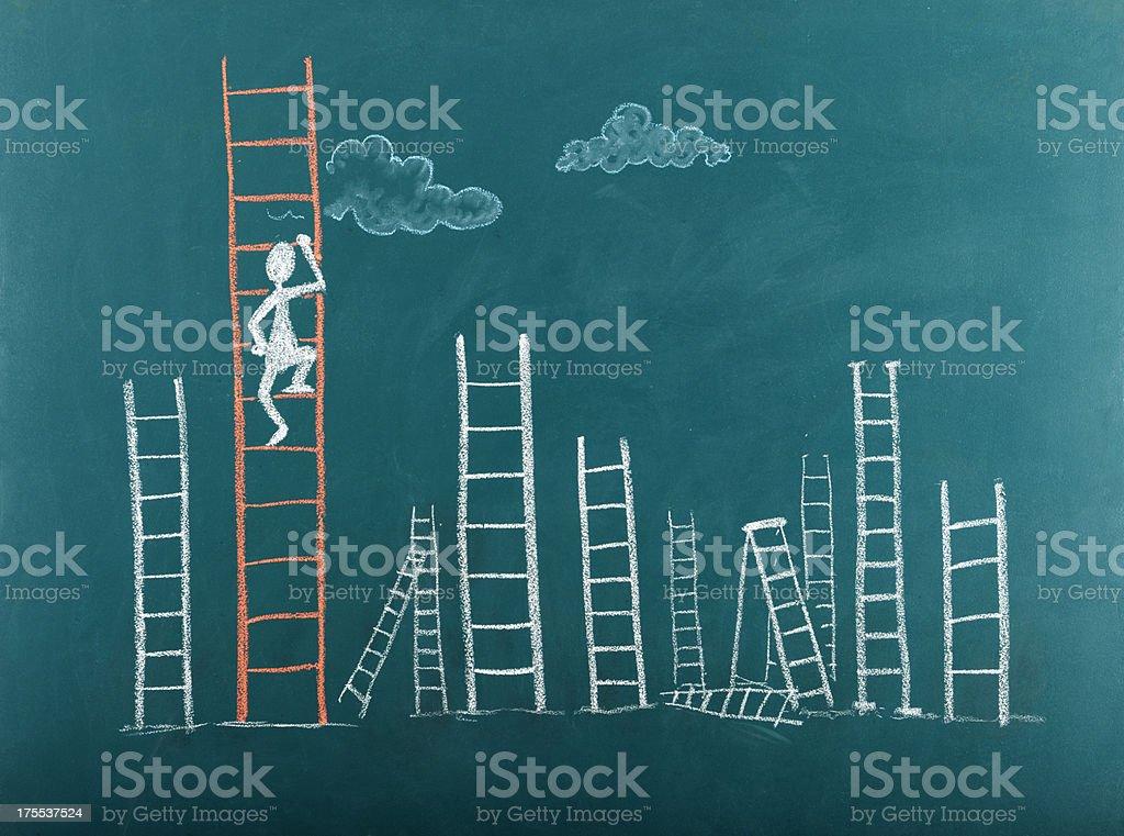 Stick figure climbing ladder to success stock photo