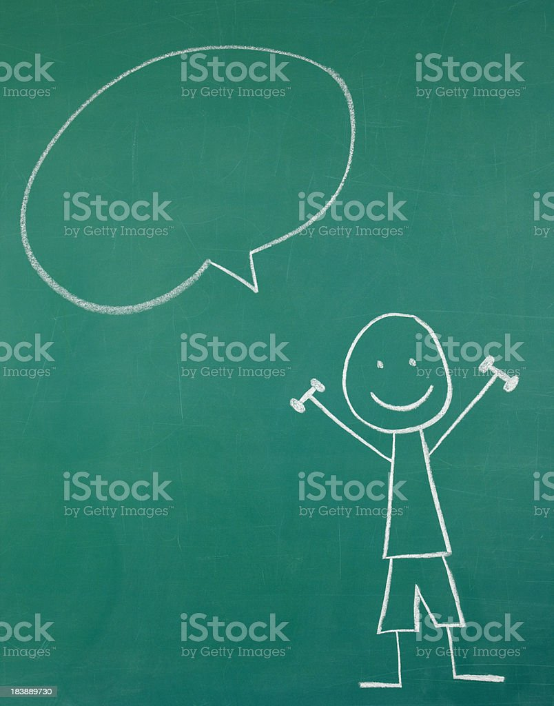 Stick Figure Lifting Weights and Speech Bubble royalty-free stock photo