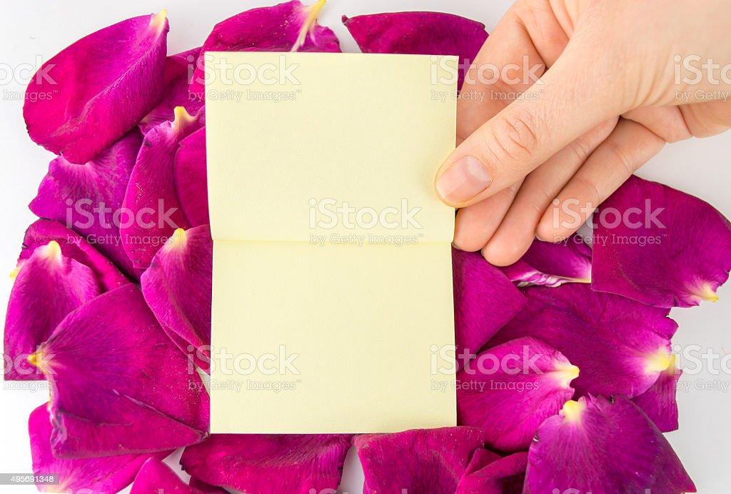 stick notes on floral framework stock photo