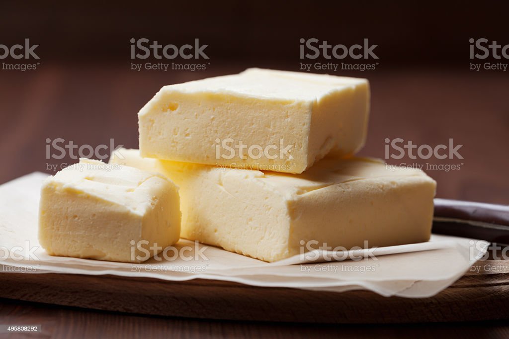 Stick of butter or margarine close view stock photo
