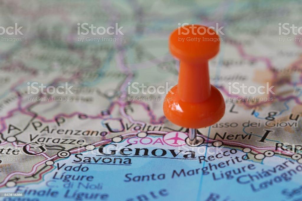 Stick pin on map of  Genova Italy stock photo