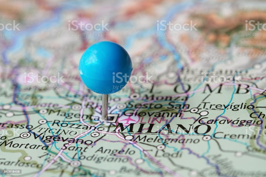 Stick pin on map of  Milano Italy stock photo