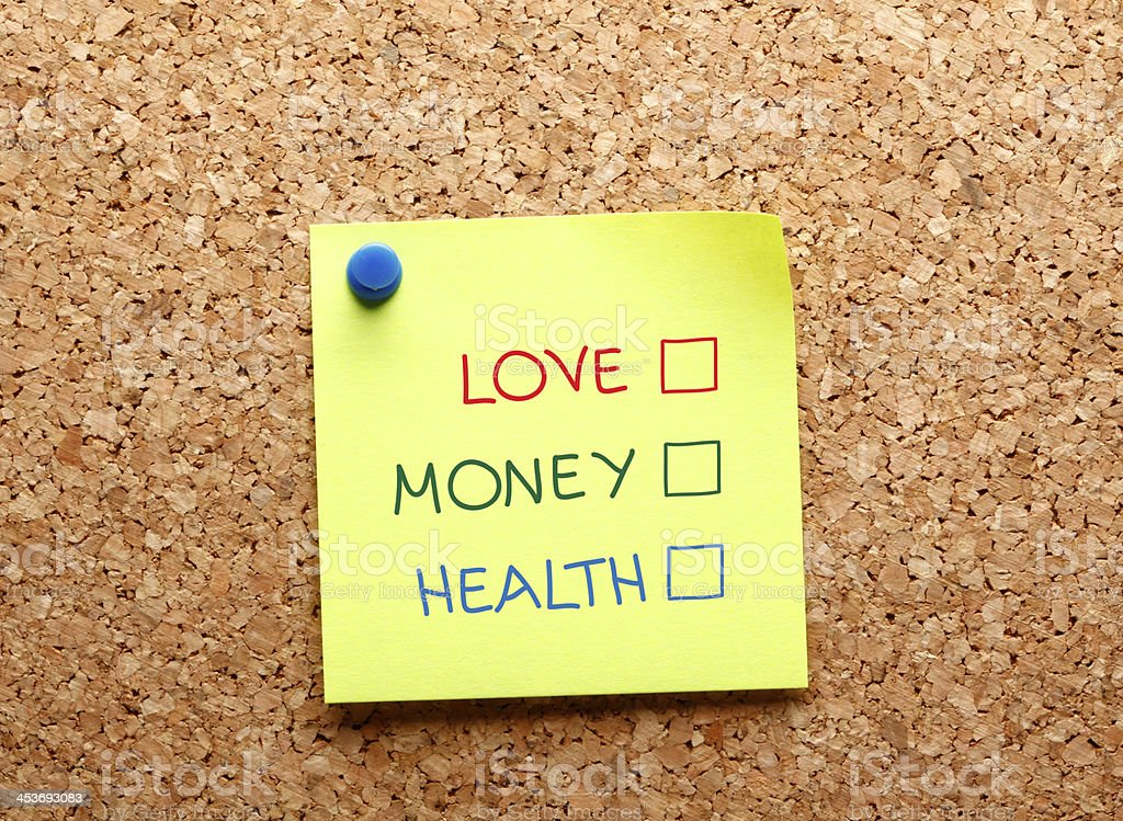 Sticker Love Money Health royalty-free stock photo