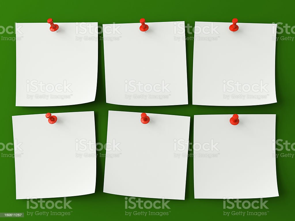 Sticker notes isolated on the green background stock photo