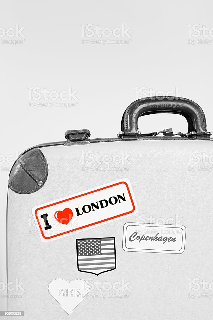 Stickers on a suitcase stock photo