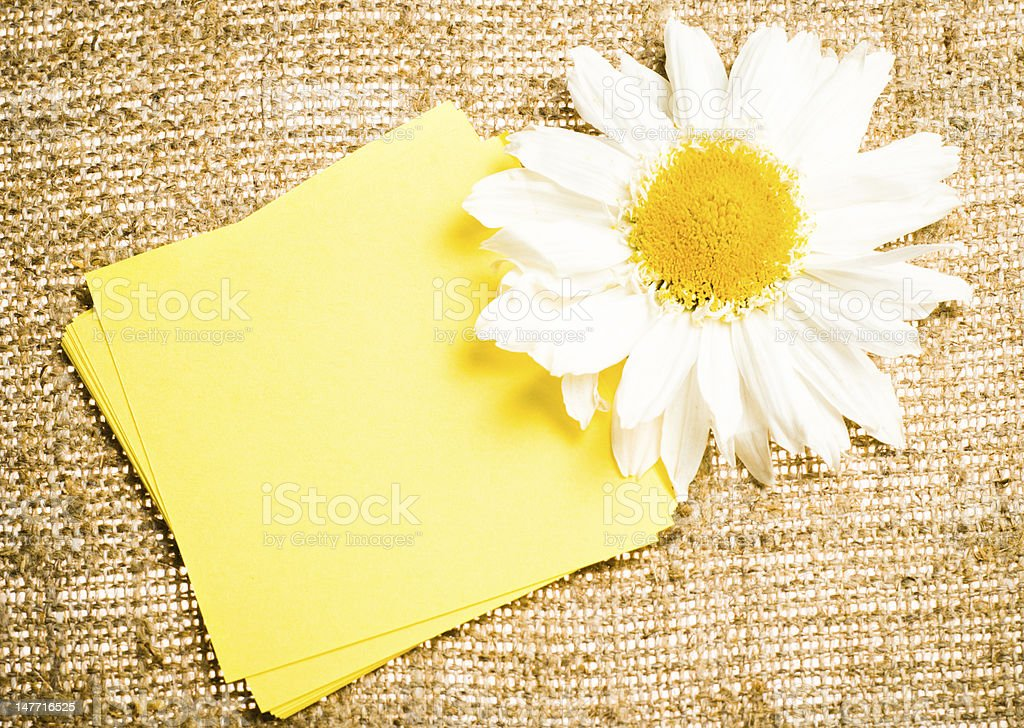 Stickers with flowers on sackcloth royalty-free stock photo