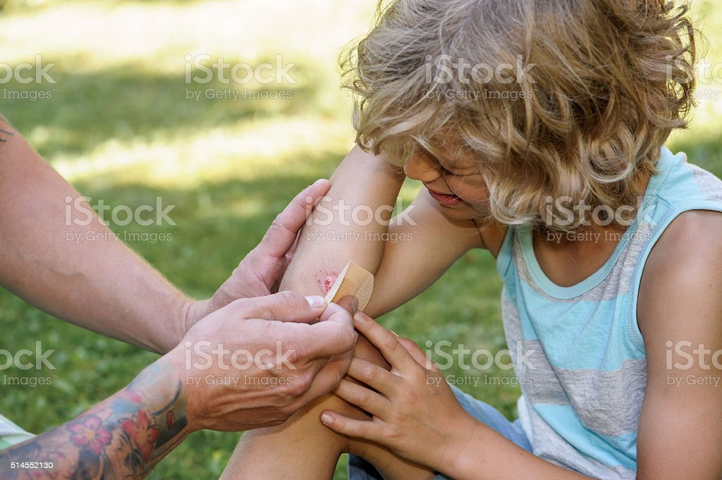 sticking plaster on cut stock photo