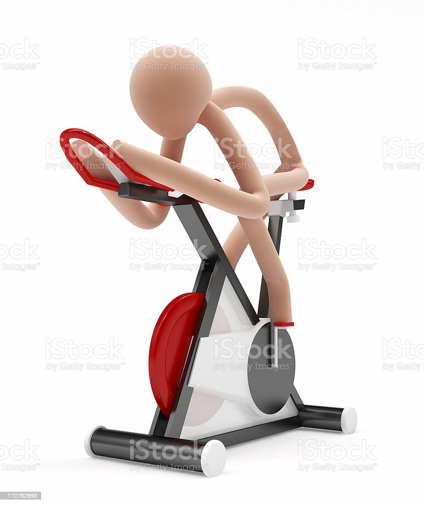 3D Stick-man on Fitness Bicycle royalty-free stock photo