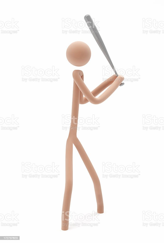 3D Stick-man playing Baseball stock photo