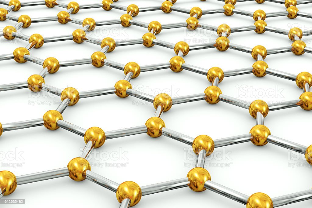 Sticks and beads hexagonal mesh stock photo
